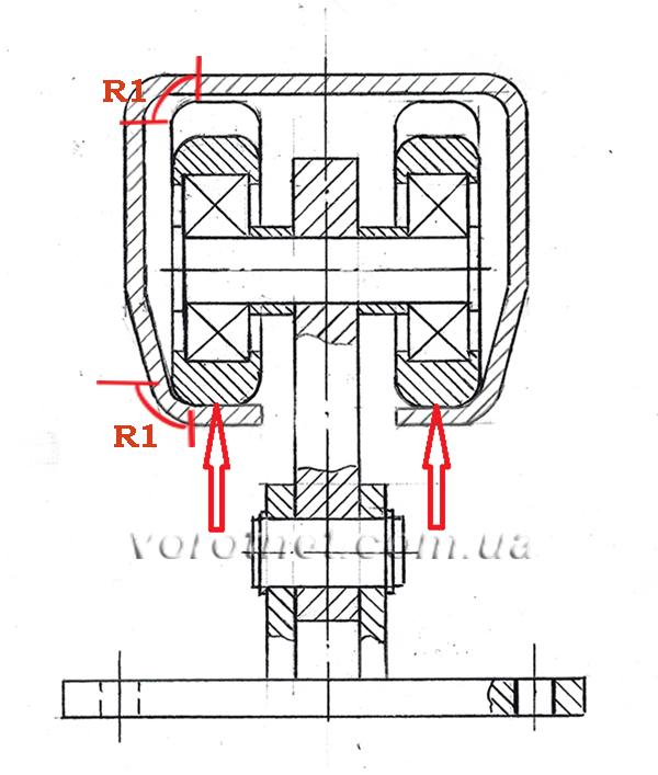 Радиусы в роликах для отктаных ворот - схема